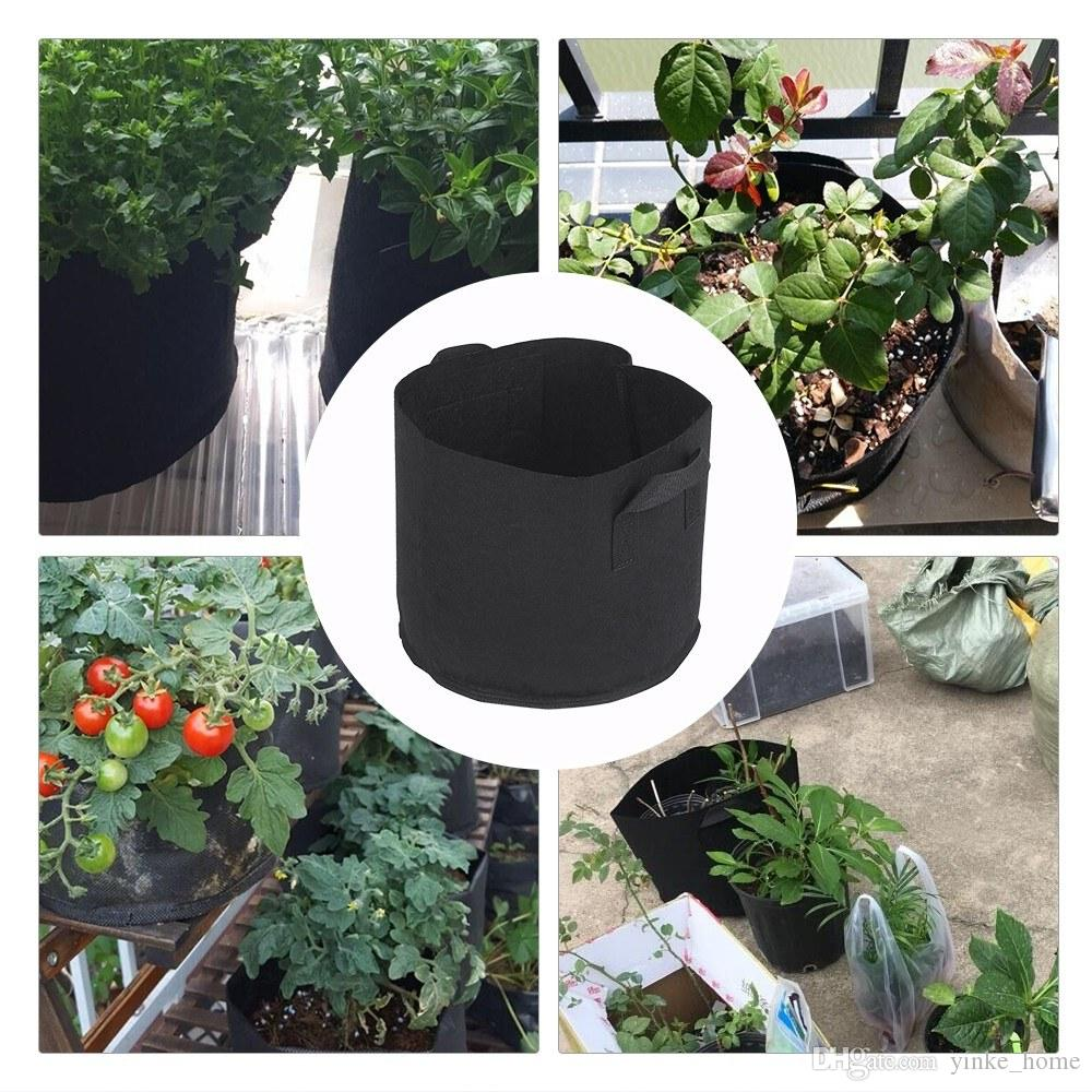 5pcs/set Garden Flower Plant Grow Bags Pouch Nonwoven Fabric Seedling Gallon Vegetable Planting Growing Bag Pot Container Planter