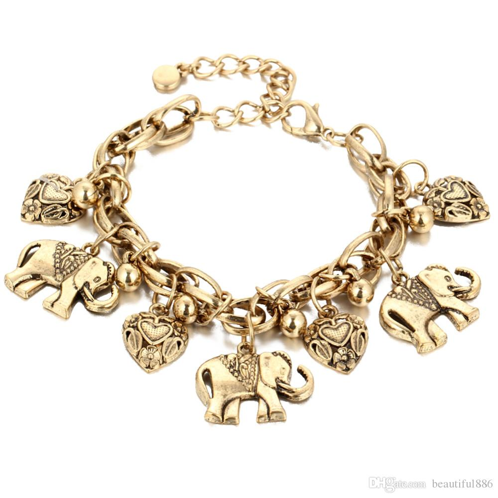 Elephant Charm Anklets for Women Vintage Heart Barefoot Sandals Foot Jewelry Bohemian Gold Silver Color Ankle Bracelet 1 Pcs