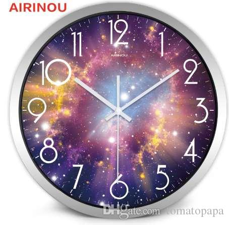Airinou the Moon Cielo stellato e Mars 3 Styles, GlassMetal Orologio da parete con movimento silenzioso, Camera dei bambini Museum Theme Park Decorate