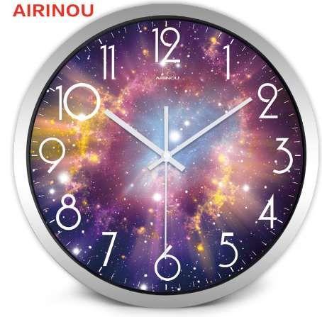 Airinou la lune ciel étoilé et Mars 3 styles, horloge murale mouvement silencieux GlassMetal, chambre d'enfant musée parc à thème décorer