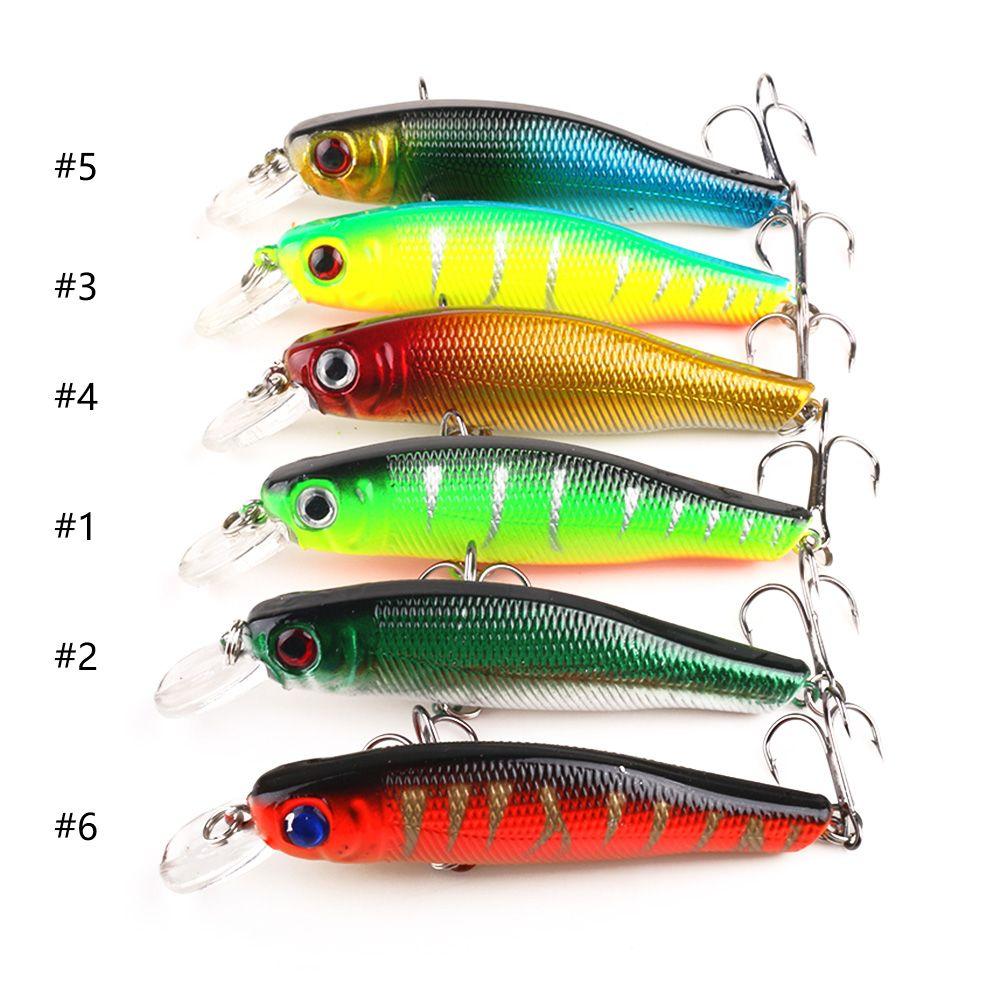 Hengjia 3D-ogen minnow vissen lokt hard aas vissen tackle 6 kleuren 8,5 cm 8,9 g 6 # haak twee haken 30 stks (MI011)