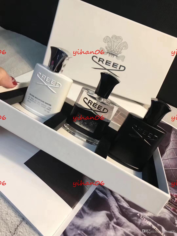 Perfume de regalo de Navidad por DHL New Creed Aventus Perfume Kit de 30ml 3 botella con tiempo de larga duración Hombres de alta calidad Fragancia