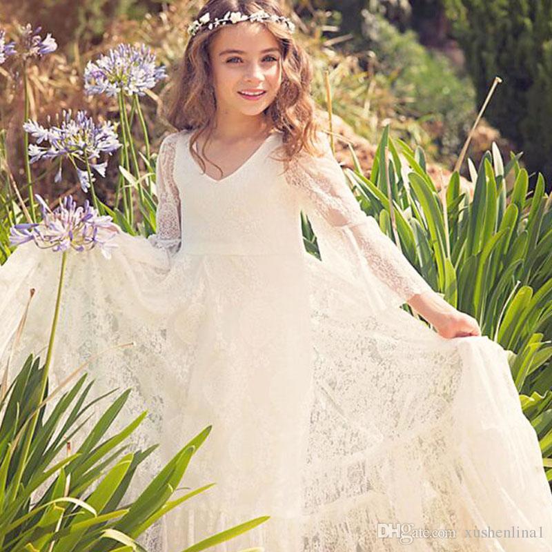 Long Sleeves Lace Flower Girls Dresses For Weddings V Neck Floor Length Infant Children Princess Dresses