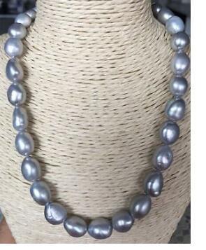 Livraison gratuite huge11-12mm énorme mer du Sud baroque argent gris collier de perles 18 pouces 14k