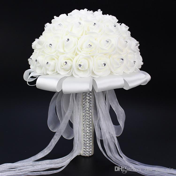 2018 Güzel Beyaz Fildişi Gelin Nedime Çiçek Düğün Buket Yapay Çiçek Gül Buketi Kristal Gelin Buketleri