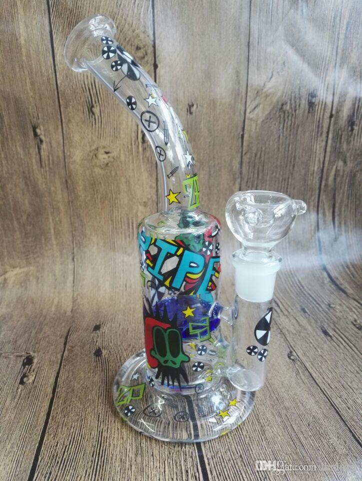 mix colors Cheaper Two function Glass Bong Perk water pipe oil rig 18.8mm