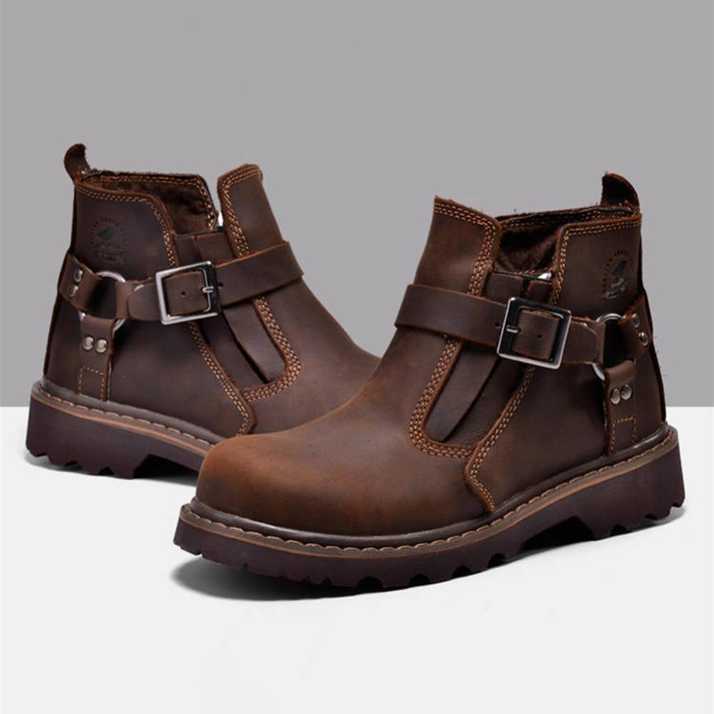 Warm winter short boots men's leather waterproof overalls waterproof leisure LACES autumn winter leisure cowboy boots no# 281646