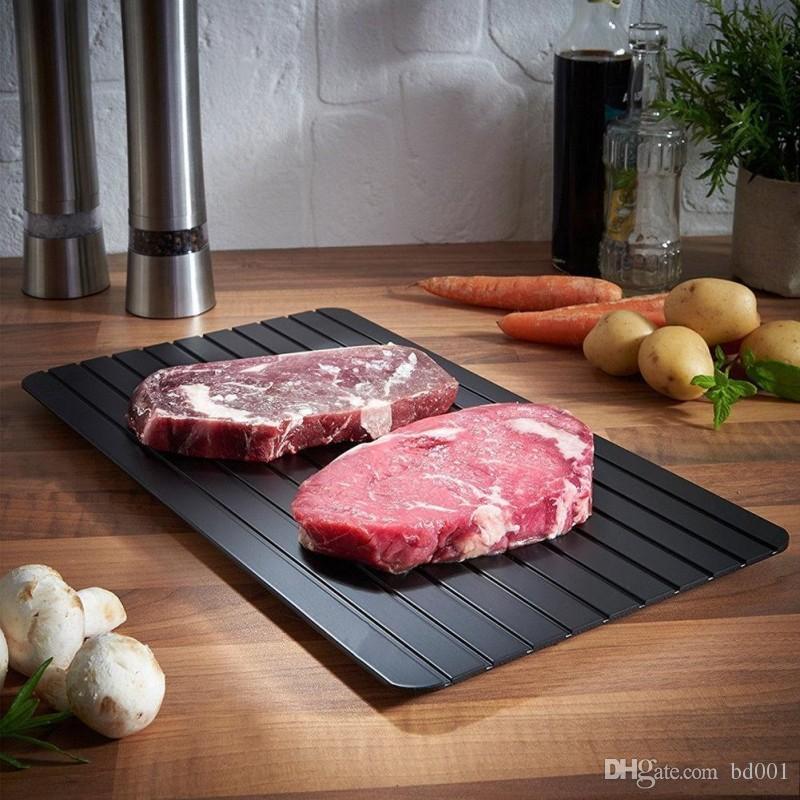 Hogar de Metal de Aluminio Mat Sturdy Square Descongelamiento de Carne Frozen Tray Durable Black Fast Deshelado de Placa Anti desgaste 35yy BB