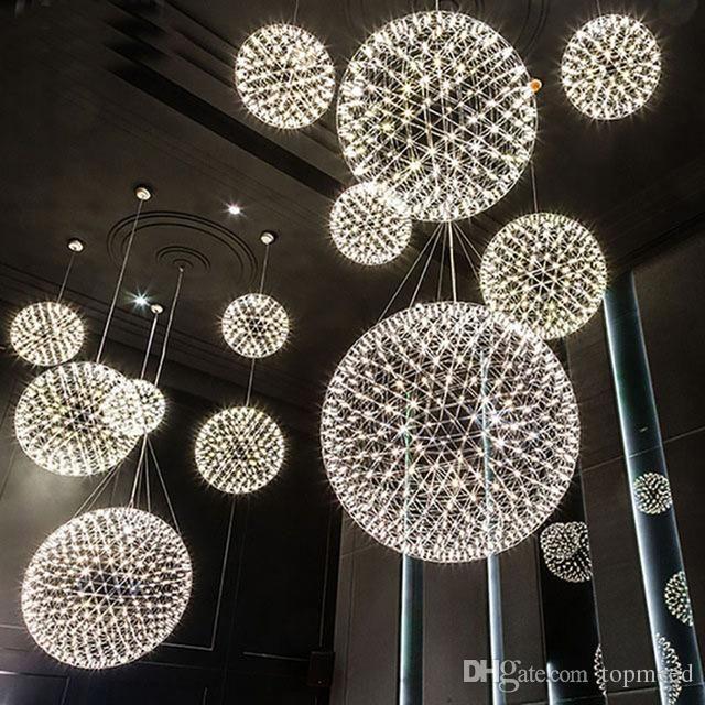 Moderna sala de estar lâmpada pingente de luz de aço inoxidável bola led candelabro luz de artifício restaurante restaurante villa projeto pingente de iluminação