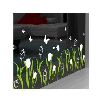 Bedroom living room decoration tulip glass door baseboard wall stickers creative shop window glass window decals
