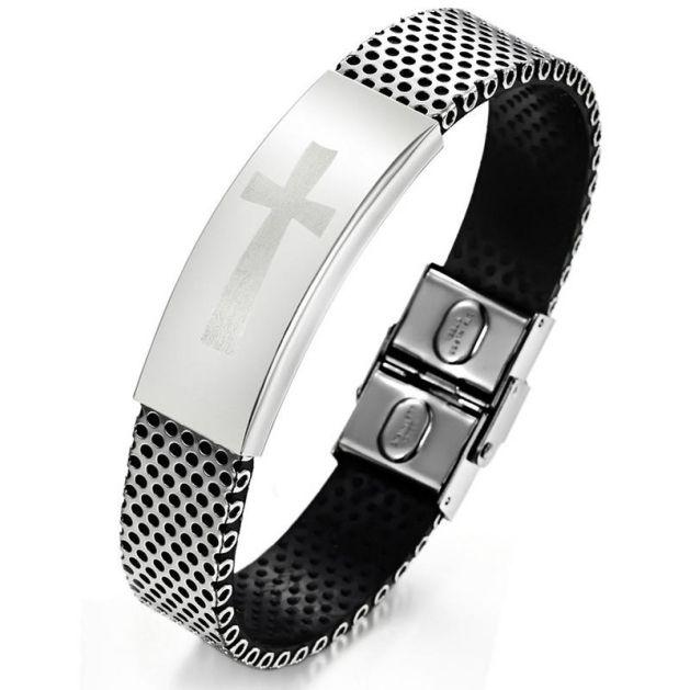 Бутик мужской титановый Стальной браслет зеркало крест шаблон PU кожаный браслет Пощечина Оснастки браслеты модные аксессуары.