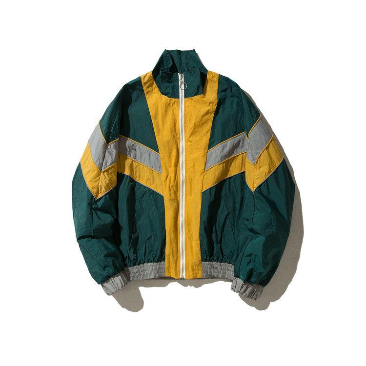 Vintage Multicolor Couleur Bloc Patchwork Coupe-Vent Vestes 2017 Automne Hip Hop Streetwear Zip Up Track Vestes Casual