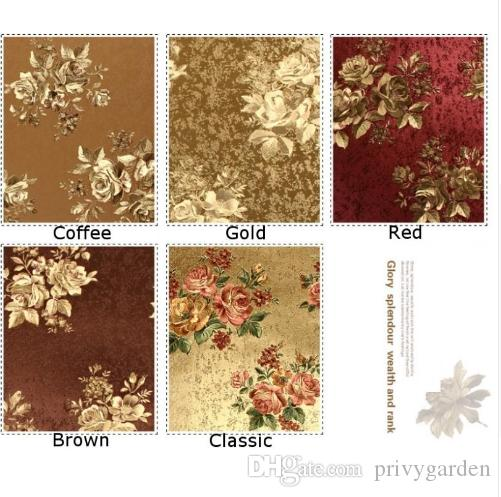 Rose Blume Goldfolie Tapete Gold geprägte Hintergrund Wandtapete klassische Blumen Tapeten Blumen für die Decke