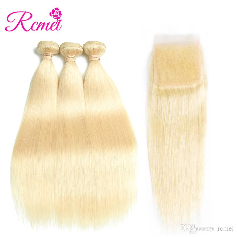 Pelo humano recto brasileño 3 paquetes de extensión sin procesar del pelo humano 613 # paquetes de tejido humano recta rubia con 4 * 4 cierre del cordón