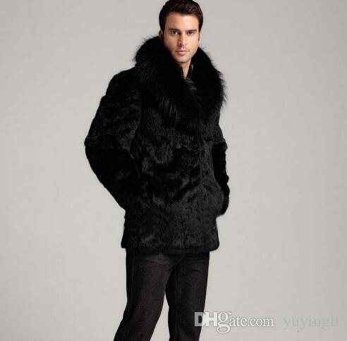 الشتاء رشاقته الشعر الحراري الفراء أرنب سترة جلدية الرجال عارضة معطف رجالي متوسطة طويلة معاطف قميص أسود الأزياء