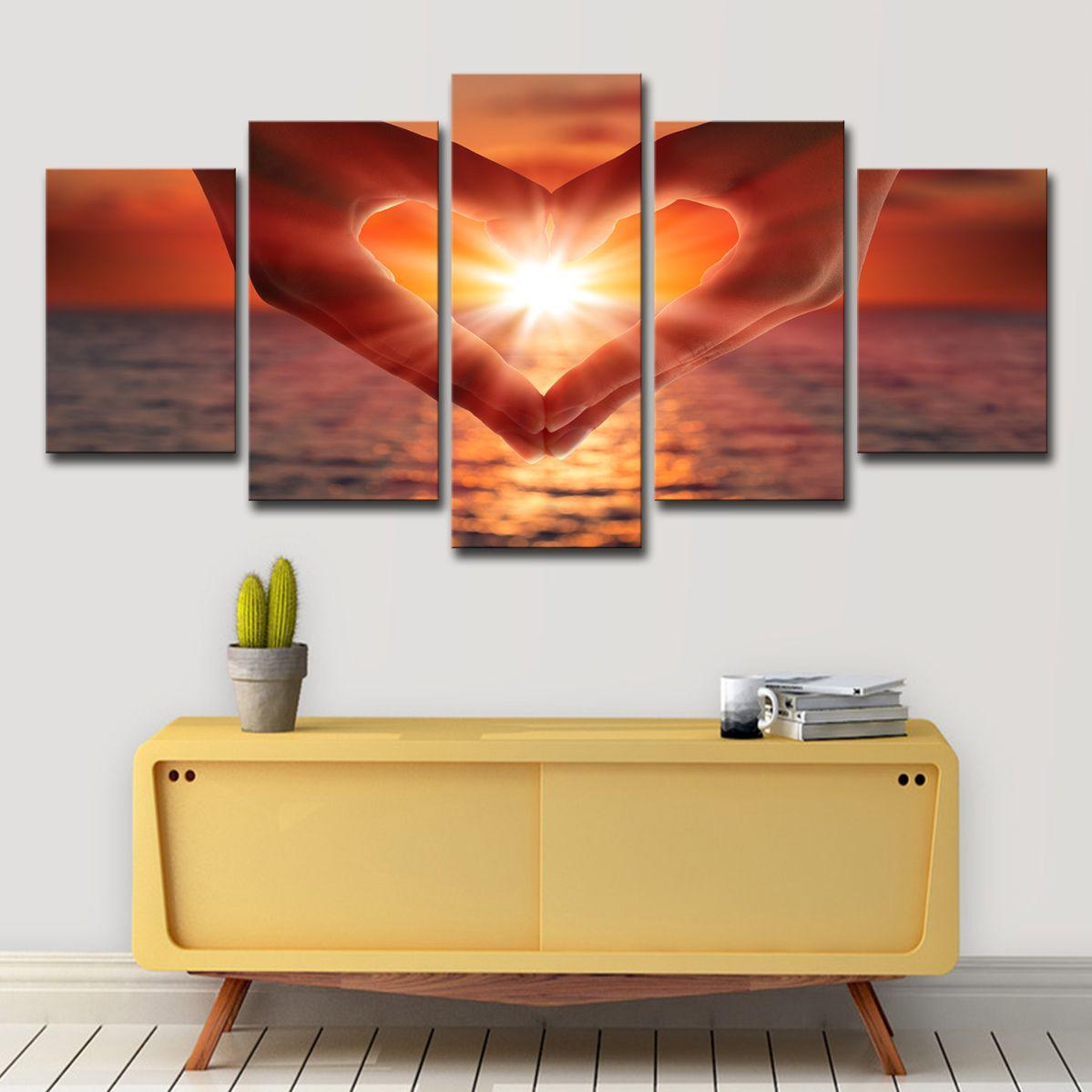 HD Baskılar Duvar Sanatı Tuval Resimleri 5 Parça Kalp Şekli Jest Sunset Seaview Resimleri Ev Dekorasyonu Oturma Odası Posteri