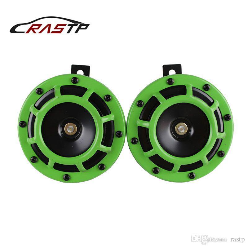 RASTP - 새로운 디자인 2 PCS 자동차에 대한 110DB 녹색 12V 슈퍼 시끄러운 소형 전기 폭발 톤 에어 혼 키트 RS-BOV014
