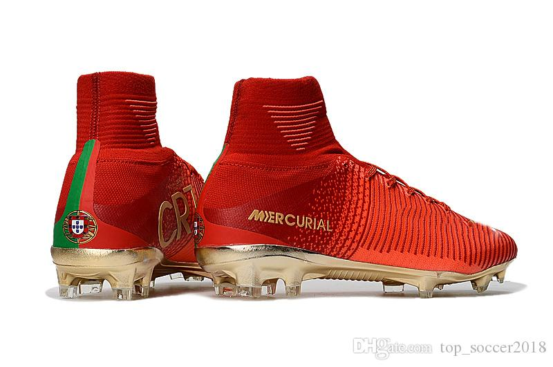 new styles 58a21 62bde 2019 Original Red Gold Children Soccer Cleats Mercurial Superfly CR7 Kids  Soccer Shoes High Ankle Cristiano Ronaldo Womens Football Boots From ...