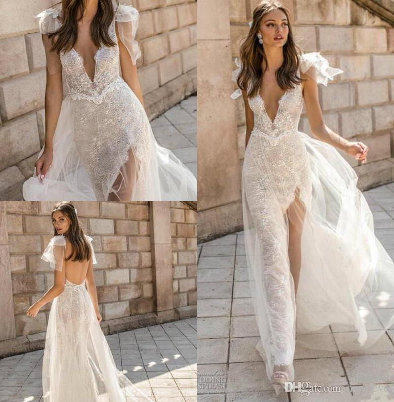 Muse by Berta 2019 Suknie ślubne V Neck Lace Backless Mermaid Bridal Suknie Wysokie Szczurki Zobacz przez trąbkę Dostosowaną suknię ślubną plażową