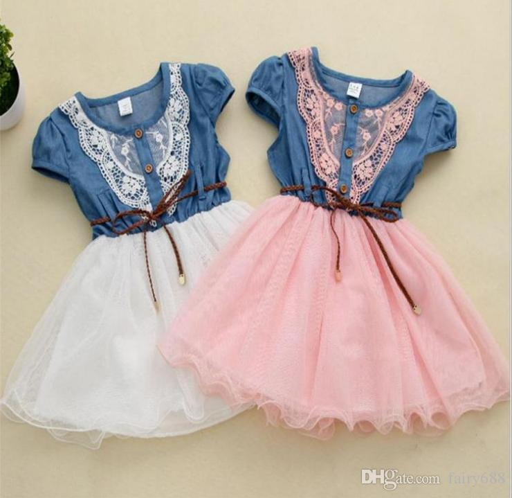 Vestido de Verano Floral del beb/é Vestido de Mezclilla sin Mangas de Princesa del beb/é ni/ña