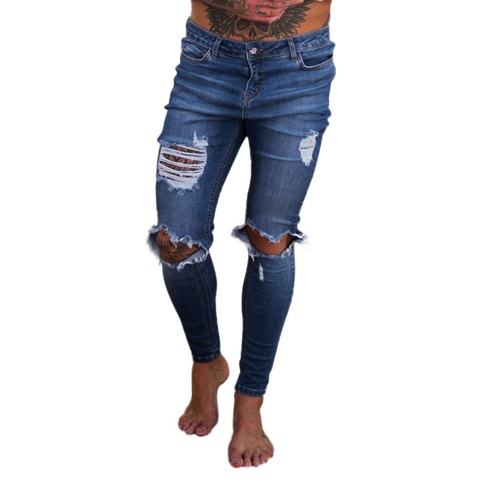 Sunfree jeans men ripped jeans men Hot Selling Free Shipping Solid New Trend Full Length para 3L55