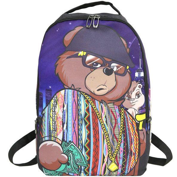 Biggie orso zaino Cool zainetto Via zainetto borsa scuola Spray zaino Sport Outdoor giorno pacchetto