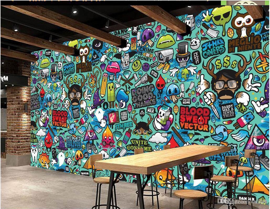 3d Wallpaper Custom Europe And America Cartoon Abstract Graffiti Theme Restaurant Home Decor 3d Wall Murals Wallpaper For Walls 3 D Xmas