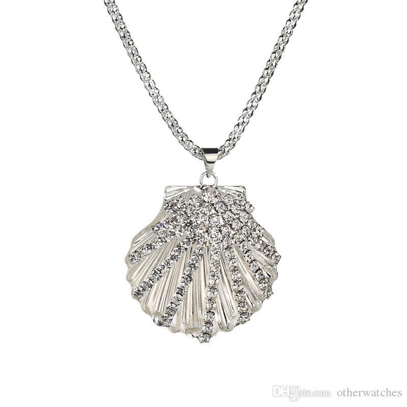 Взрывоопасные оболочки кулон веерообразные бриллиантовый свитер цепи леди бриллиантовое колье Свадьба, туристический сувенир Ожерелья с подвесками