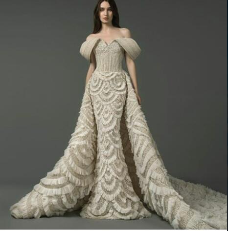 Vestido de noche Vestido largo sin tirantes Tullue con cuentas elegante O-cuello con volantes Satén Split Split Shotper Mermaid Zuhair Murad Kim Kardashian