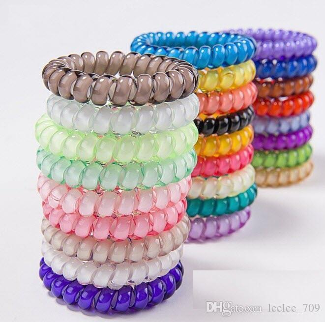 25pcs 27 colores 6.5cm alta calidad del alambre de teléfono Cable de goma de anillo elástico de la banda del lazo del pelo pelo de las muchachas de la cuerda del color del caramelo pulsera elástica Scrunchy