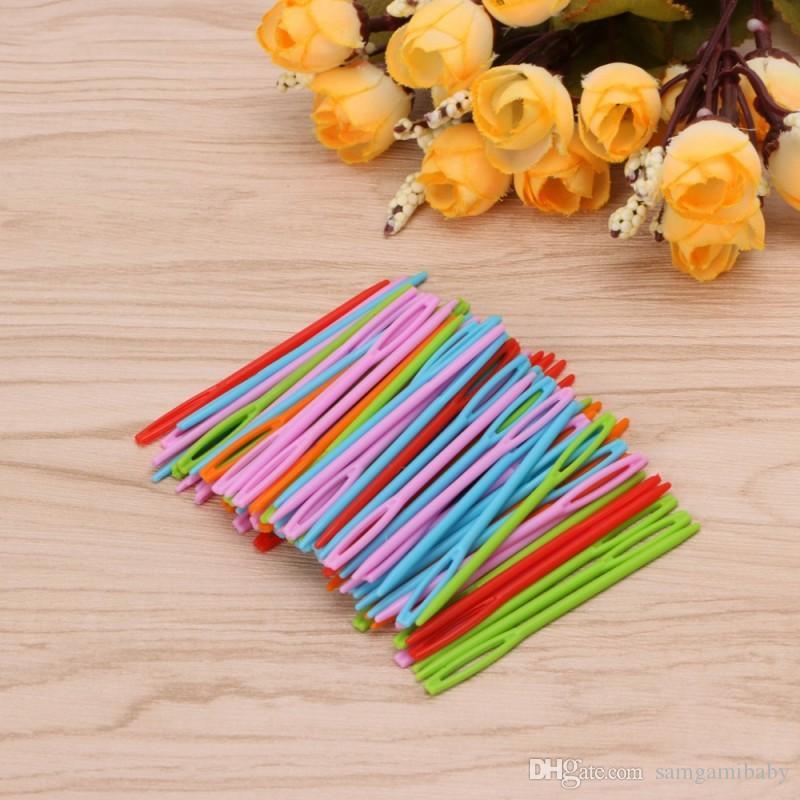 1000 قطع الأطفال الملونة البلاستيك 7 سنتيمتر إبر نسيج الصوف binca الخياطة غزل diy للخياطة ، عبر الابره ، binca ، الجواب وهلم جرا