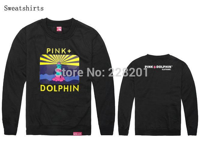 drop shipping felpa a maniche lunghe manica lunga nuovo arrivo rosa delfino o-collo hiphop primavera e autunno felpa in cotone e uomini di spessore