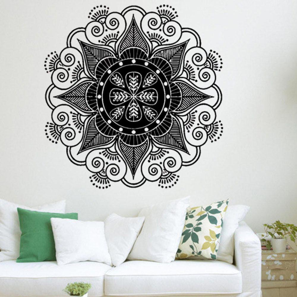 Sticker mural fleur de mandala indien pour la décoration de la chambre à coucher