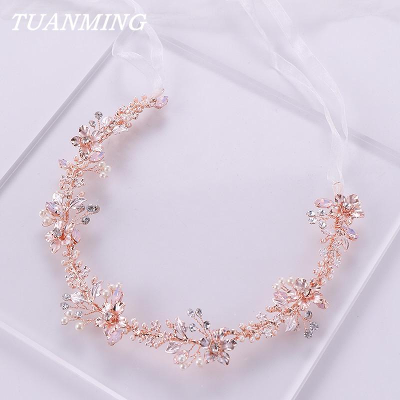 2021 Rose Gold Flower Pearl Headband jewelry Tiara Wedding Bridal Princess Hair Crystal Bride Headdress