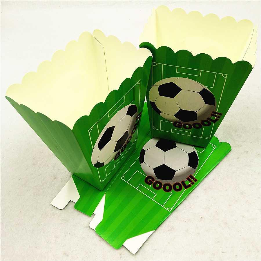 6pc/set Football Party Supplies Paper Popcorn Boxes Candy Gift Box Bags Baby Shower Birthday Scooer Party Decoration Favors