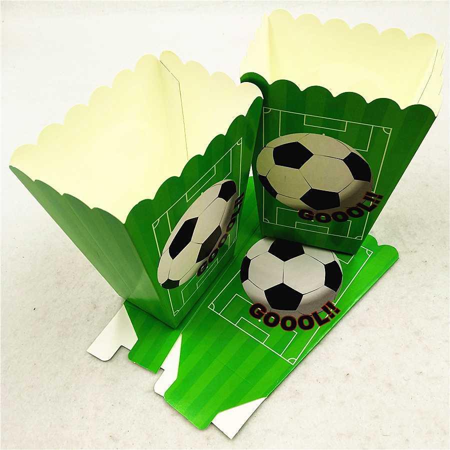 6 pc / set Artículos para fiestas de fútbol Cajas de palomitas de maíz de papel Caja de regalo para dulces Baby Shower Cumpleaños Scooer Decoración del partido Favores