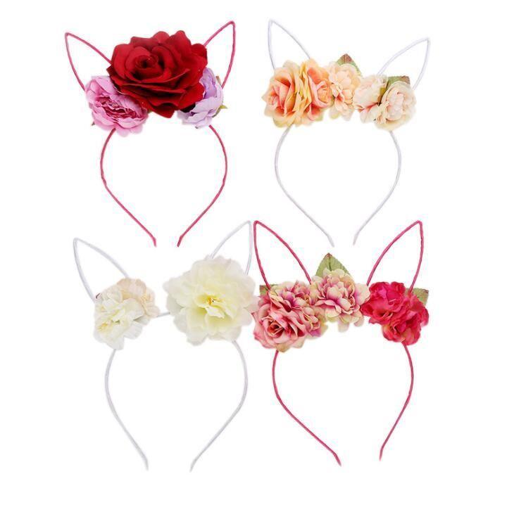 Kids Girls Rose Flower Headband Party Wedding Fabric Flower Wreath Capelli orecchie di coniglio Hair Hoop Hair Band Accessori