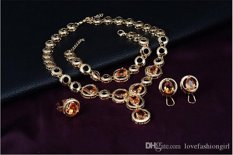 Mulheres Moda Wedding Set Jóias de luxo da gota da água Estilo Rhinestone 18K Golde liga banhado Círculos conjunto de 4 peças festa de jóias