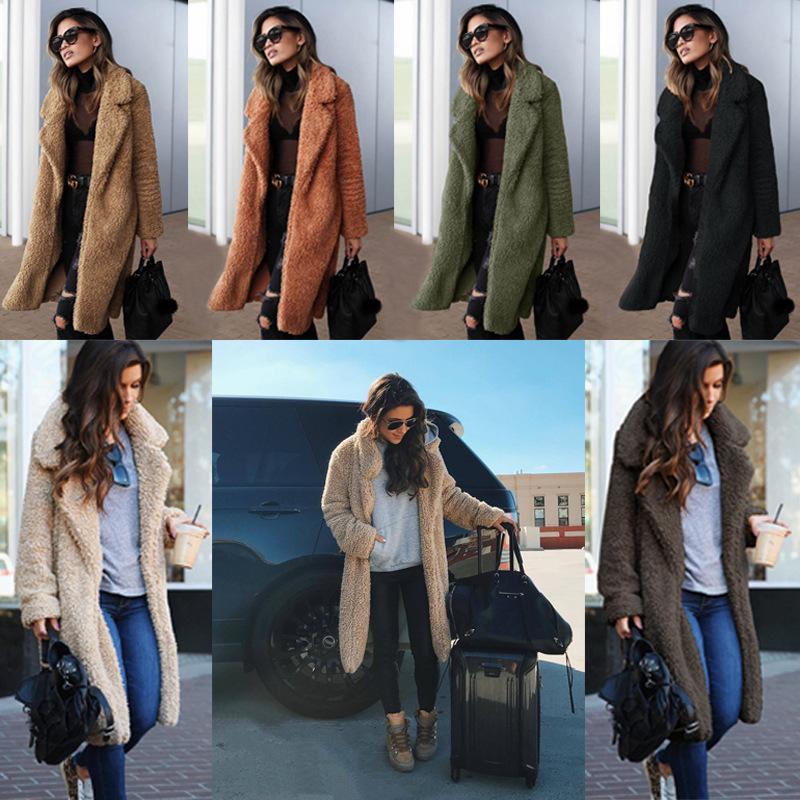 Women Casual Long cardigan Fashion Faux Fur Coat Female Winter Loose Warm Soft Outwear Teddy Overcoat Jacket Good Quality