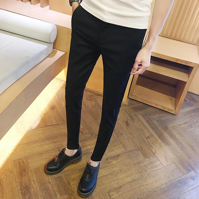 2017 Winter Fit Men's Casual Spodnie Proste Dress Spodnie Elastyczne Garnitur Mężczyźni Spodnie