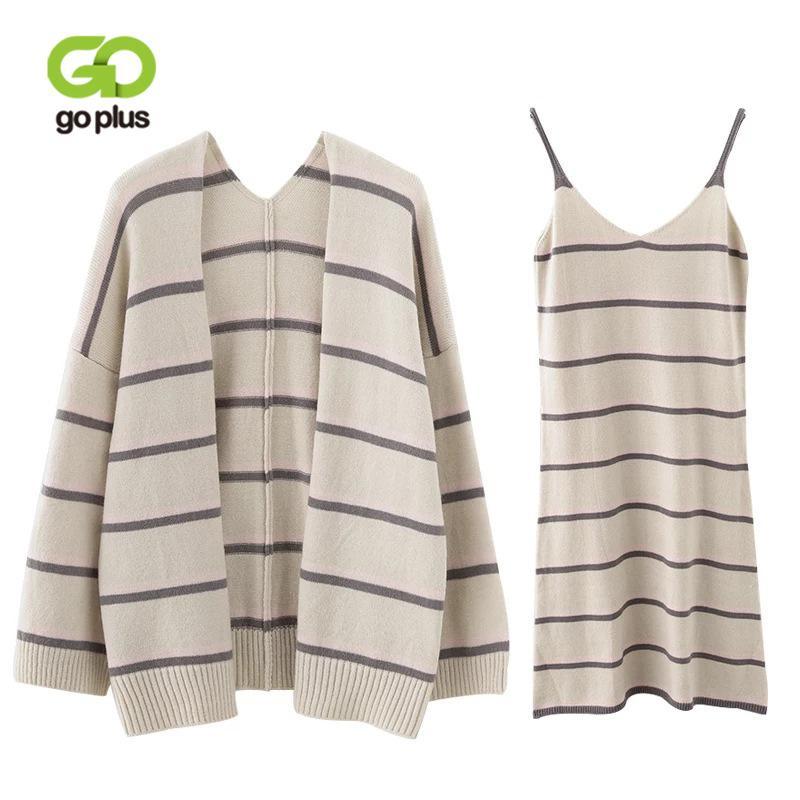 GOPLUS Duas Peças Set Outono Mulher Listrado Strap Dress Suit Mulheres 2018 Nova Moda Cardigan Vestido Set Malha Terno Conjunto Feminino C6527 D18110503