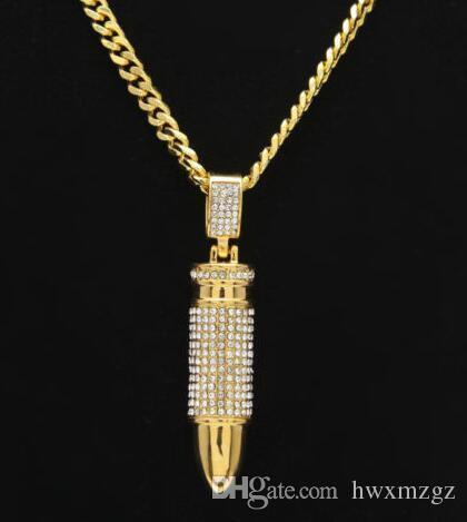 Collar de Hip Hop Chapado en oro Pistola Bala CZ Bling Completo Cadena Cubana