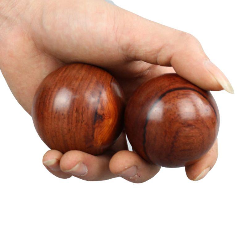 2 unids Wood Fitness Ball Masaje GYM Ball Meditación de la Salud Ejercicio de Estrés Alivio Baoding Bolas Relajación Terapia