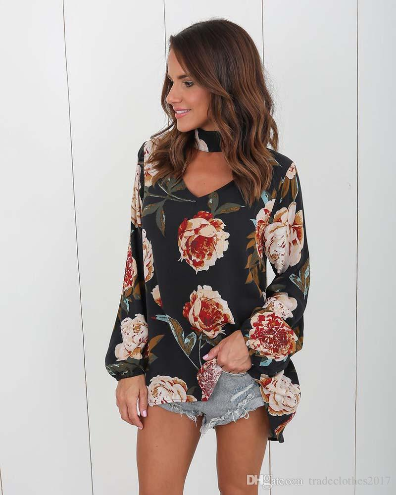 30 unids Sexy Cuello En V Pullover Long Sleeve Flora Impreso T Shirt Summer Women Cotten Blend Blusas Sueltas 2 colores Tamaño S-3XL