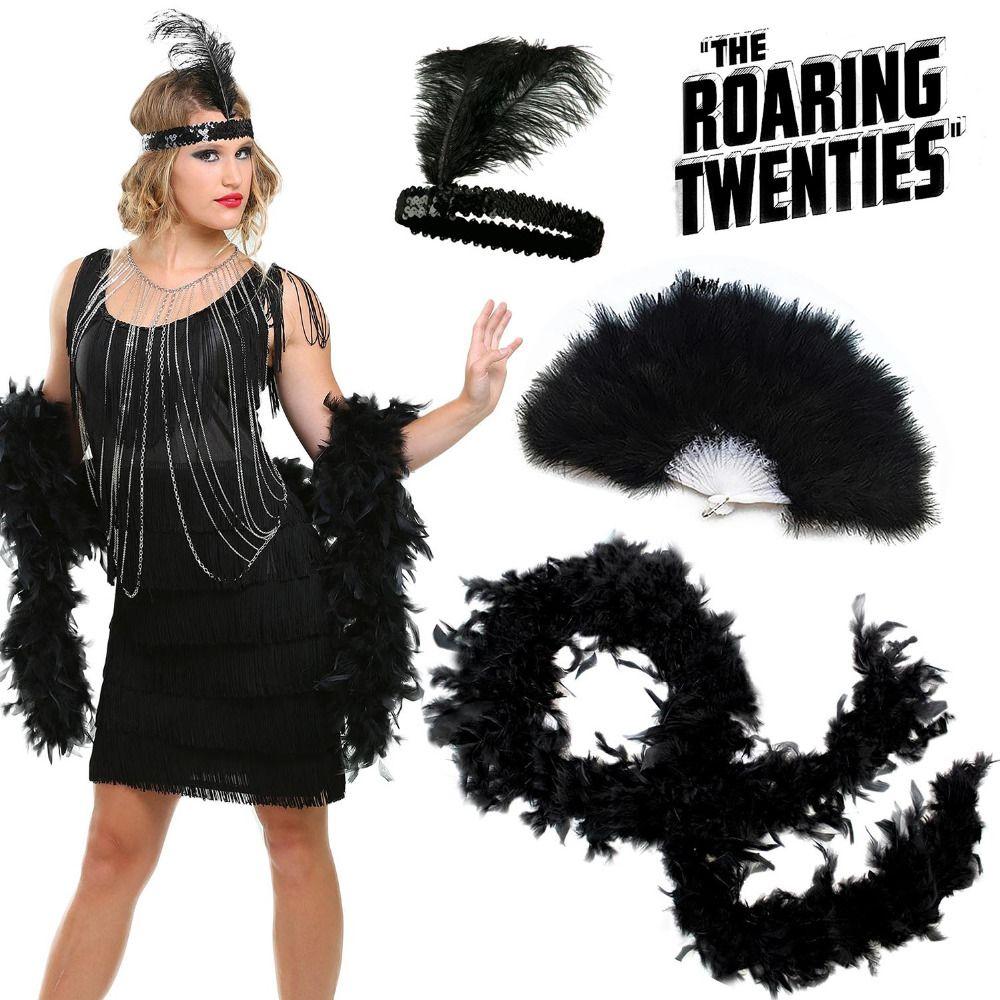 Roaring 20s Accessoires de costume de fille Flapper Deluxe 3 Pack Set 1920 Charleston Jazz Gatsby Déguisements en tenue de plumes
