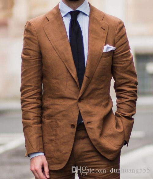 أزياء جديدة وصول شعبية براون قطعتين (سترة + سروال) لحضور حفل زفاف الدعاوى التجارية ارتداء حفلة موسيقية مساء يمكن أفضل الرجال حسب الطلب