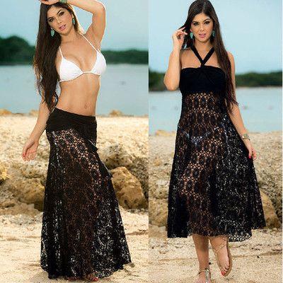 Sexy Summer Beach Cover Up Lace Bikini Cuello Colgante Hueco de dos maneras de vestir trajes de baño Falda Falda Traje de baño Cubrir Ups Beachwear Sundress Mekug