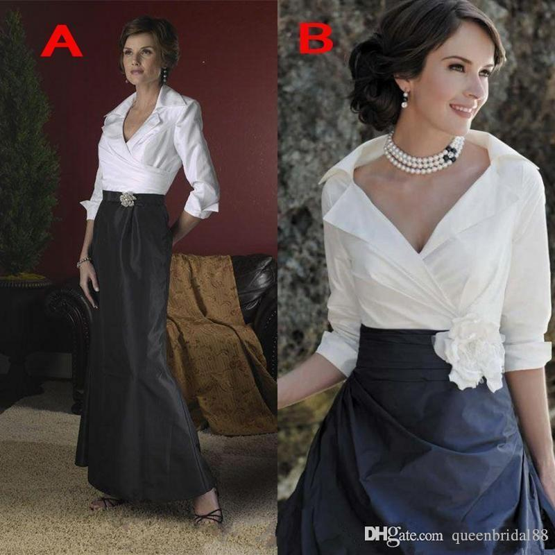 Modest 2019 Black and White Mother of the Bride Dresses with Sash 3/4 Long Sleeves Formal Evening Gowns