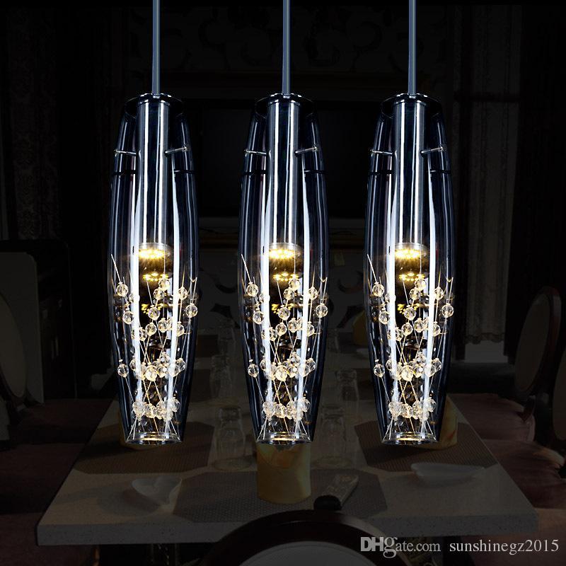 Yaratıcı kişilik restoran LED lamba kristal avize, modern minimalist bar masa lambası yemek asılı lamba ücretsiz gönderim
