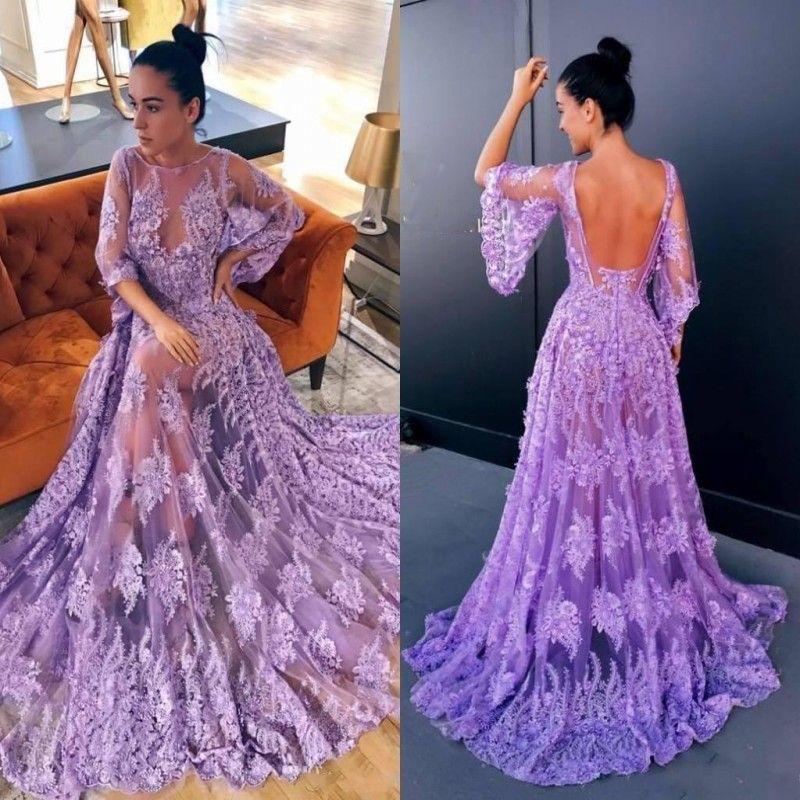 Compre Sexy Lavender Lace Prom Dresses Long Sheer Neckline Poet Sleeves Backless Vestidos De Noche Ver A Través De Vestidos De Cóctel Vestidos A